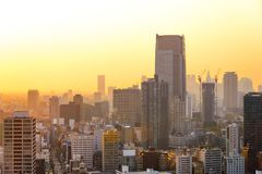 Cityscapes of Tokyo sunset, city aerial skyscraper view of office building and downtown and street of minato in tokyo with yellow royalty free stock photos