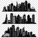 Cityscapes, town skyline buildings, big city silhouettes vector set Stock Photos