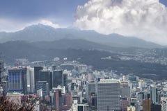 Cityscapes van Seoel, horizon, de hoge gebouwen van het stijgingsbureau en skyscr Royalty-vrije Stock Foto