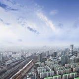 Cityscapes van Seoel, horizon, de hoge gebouwen van het stijgingsbureau en skyscr stock afbeeldingen