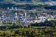 Cityscapesikt av Aarau, Schweiz Royaltyfri Fotografi