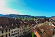 Cityscapesikt av Aarau, Schweiz Fotografering för Bildbyråer