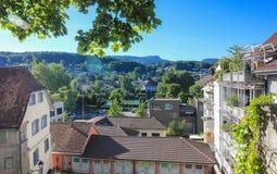 Cityscapesikt av Aarau, Schweiz Royaltyfria Bilder