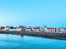 Cityscapesikt av Borganes, Island arkivfoto