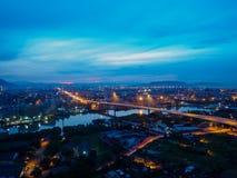 Cityscapesolnedgång på Butterworth, Penang, Malaysia Arkivfoto