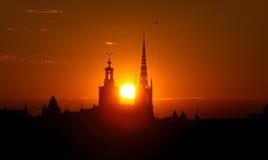 cityscapestockholm solnedgång arkivfoton