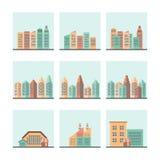 Cityscapesymbolsuppsättning Arkivfoto
