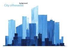 Cityscapevattenfärgarbete reflekterad flod f?r stadskremlin liggande natt royaltyfri illustrationer
