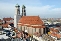 Cityscapse of Munich with the Frauenkirche church. Located next Royalty Free Stock Image
