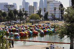 Citysccape of Balloons Floating in Los Angeles MacArthur Park Stock Photo