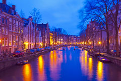 Cityscenic from Amsterdam in Netherlands by night Royalty Free Stock Images