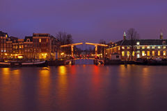 Cityscenic from Amsterdam Netherlands by night Royalty Free Stock Images