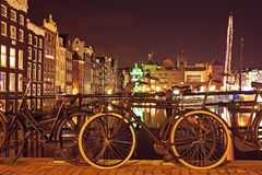 Cityscenic from Amsterdam Netherlands by night Stock Photography