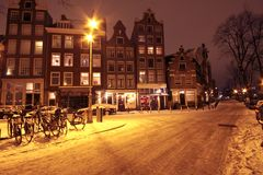 Cityscenic from Amsterdam at night the Netherlands Royalty Free Stock Image