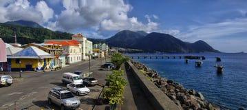 The cityscope view of Roseau on January 9, 2017. Roseau is the capital of Dominica island,. ROSEAU, DOMINICA - JANUARY 9, 2017 - The cityscope view of Roseau on stock image