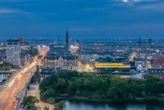 Cityskape Копенгагена и своей главной дороги Стоковое Изображение
