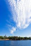 Cityskape on cloudy sky. Cityskape on magnificent cloudy blue sky Stock Images