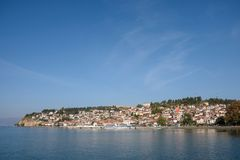 Cityscape of Ohrid, Republic of Macedonia stock images