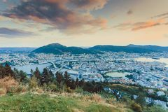 Cityspace of bergen in Norway. Cityspace. view from hill of city bergen and fjord landscape evening scenery, norway royalty free stock images