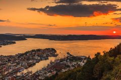 Cityspace of bergen in Norway. Cityspace. view from hill of city bergen and fjord landscape sunset scenery, norway royalty free stock photography