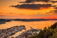 Cityspace of Bergen, panoramic view Stock Image