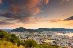 Cityspace of Bergen, panoramic view Royalty Free Stock Photos