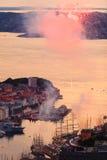 Cityspace de Bergen le 25 juillet 2014 en Norvège Images libres de droits