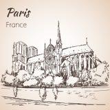 Cityspace de Paris Catedral Notre Dame de Paris Fotografia de Stock