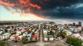 Cityspace de Reykjavik, lapso de tempo no por do sol Imagem de Stock