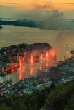 Cityspace di Bergen il 25 luglio 2014 in Norvegia Fotografie Stock