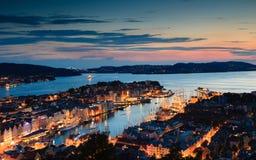 Cityspace van Bergen op 25 Juli, 2014 in Noorwegen Stock Afbeeldingen