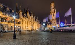 CitySquare during christmas, Bruges,Belgium December 2017. The city is decorated in colorful lights Royalty Free Stock Photos