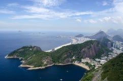 Cityview пляжа Рио-де-Жанейро и Copacabana Стоковые Фото