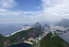 Cityview пляжа Рио-де-Жанейро и Copacabana Стоковое Изображение RF