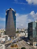 Cityview of Central part of  Tel-Aviv-old buildings, skyscrapers Stock Photo