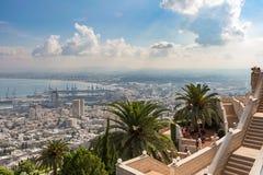 Cityview dalla montagna cityscape haifa Fotografia Stock Libera da Diritti