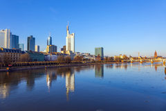 Cityview of Frankfurt am Main with river main Stock Photos