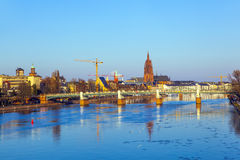 Cityview of Frankfurt am Main with river main Stock Image