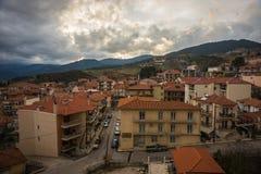 Cityview at mountain village of Karpenisi, Evitania, Greece Stock Photo