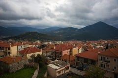 Cityview at mountain village of Karpenisi, Evitania, Greece Stock Image