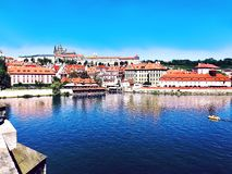 Cityview of Prague, Czech Republic, Seen from the Charles Bridge, stock image