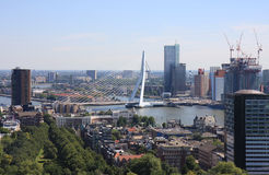 Cityview of Rotterdam and Erasmusbrug, Holland. The Erasmusbrug, also called 'de Zwaan' ('the Swan') because of the elegant twist in the pylon, provides the link Royalty Free Stock Image