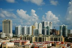 Cityview of Sunny Isles Beach, Florida. Highrise buildings and condominiums at the coast of Sunny Isles Beach Stock Photos