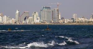 Cityview of Tel Aviv from Mediterranean Sea.Israel. Panoramic view of Tel Aviv cityline (Mediterranean sea. Israel Stock Photo