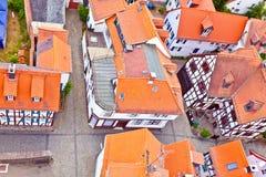 Cityview van oude historische stad van Oberursel Stock Afbeelding