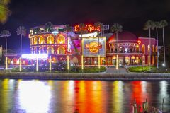 Universal Studios at night in Universal Orlando, FL, USA royalty free stock image