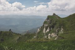 Ciucas Mountains. Hiking trail and strange rock formations in Ciucas Mountains Stock Images