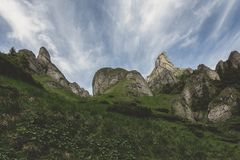 Ciucas Mountains. Hiking trail and strange rock formations in Ciucas Mountains Royalty Free Stock Image