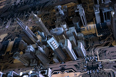 ciudad 3D en tarjeta de circuitos stock de ilustración