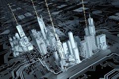 ciudad 3D en un chip de ordenador stock de ilustración